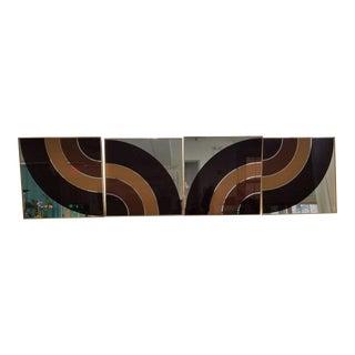 Rare Complete Four Panels 1970's Verner Panton Spectrum Op Art Mirror