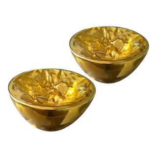 Large gold Murano glass floor or table lamps, mid century modern.