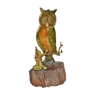 Copper & Brass Owl on Petrified Wood