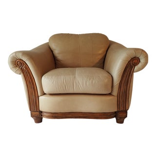 Over-Size Leather Arm Chair Oak Frame Leather Trend Excellent 34H x 48 x 46