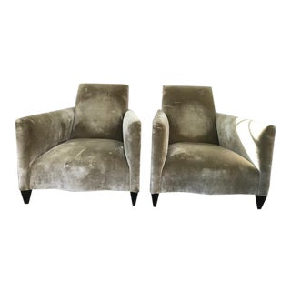 Donghia Velvet Chairs in Light Green - A Pair