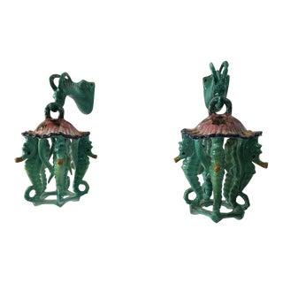 Extremely Rare Pair of Glazed Ceramic Seahorse Lanterns