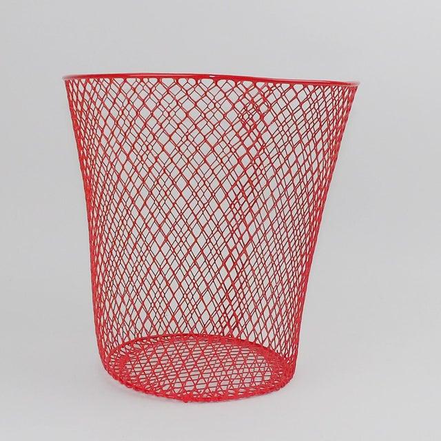 Vintage Mid-Century Modern Red Wire Metal Waste Bucket - Image 3 of 11