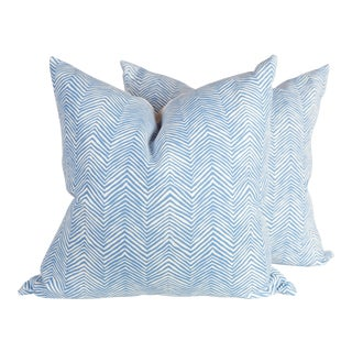 Custom Alan Campbell Blue Zig Zag Pillows - A Pair