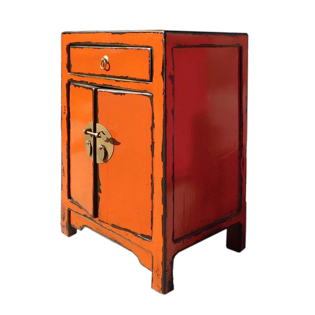 Oriental Orange Moon Face End Table Nightstand - Image 3 of 5