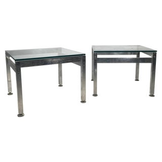 Aluminum and Glass Side Tables - A Pair