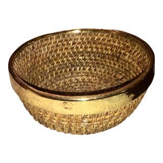 Vintage Brass Rimmed Woven Basket Bowl