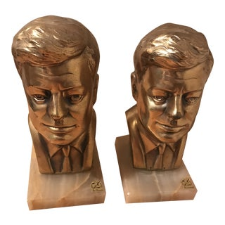 Large Brass JFK Bookends - A Pair