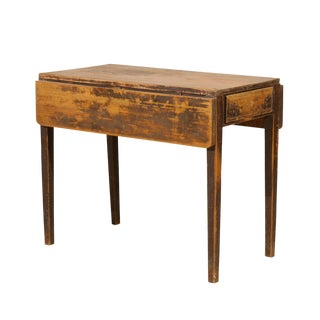 A Swedish Drop Leaf Table with Single Drawer and Tapered Legs, 19th Century