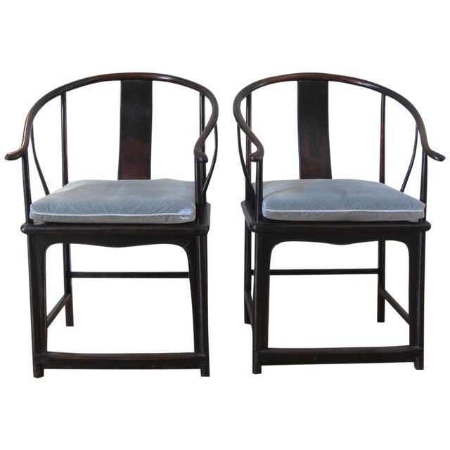 Large Antique Chinese Horse Shoe Back Chairs - 2 - Image 1 of 10
