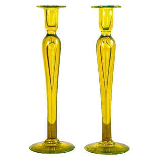Citron Vasaline glass candlesticks
