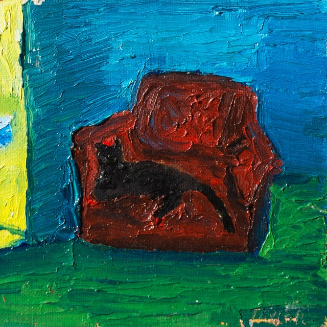 Jonathan Taylor Black Cat on Red Chair Painting - Image 2 of 4