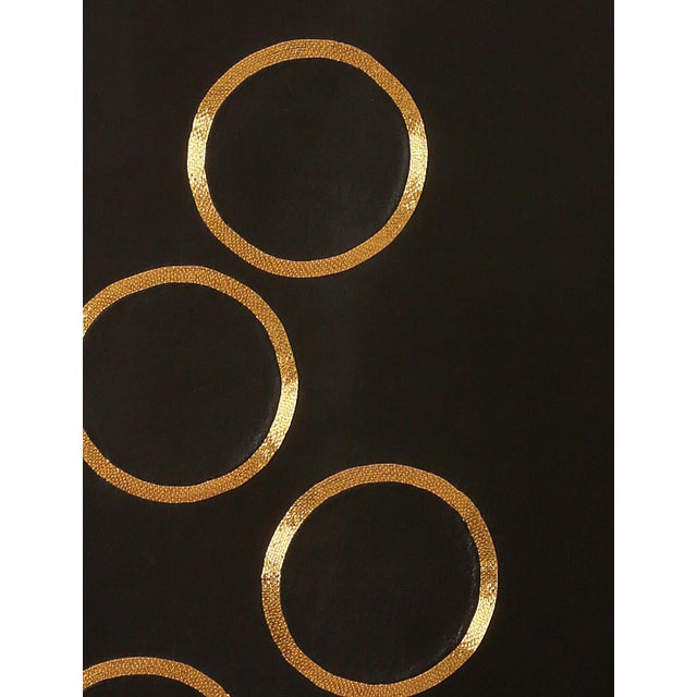 Chance of Seven by Anita Carnell - gold embroidered leather wall hanging - Image 3 of 3