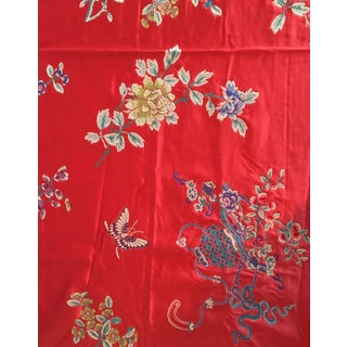 Ralph Lauren Red Silk Brocade Upholstery Fabric - 2 Yards