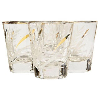 Gilt & White Wheat Shot Glasses - Set of 4