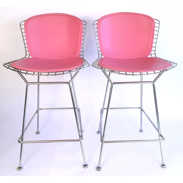 Harry Bertoia Knoll Signed Chrome Bar Counter Stools - a Pair - Image 2 of 11