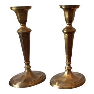 William Rogers & Sons Brass Candlesticks - a Pair