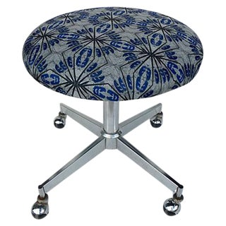 Mid Century Stool on Casters
