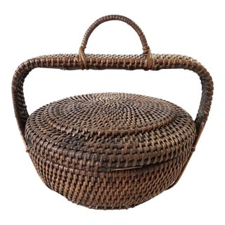 Antique Lidded Chinese Basket with Handle
