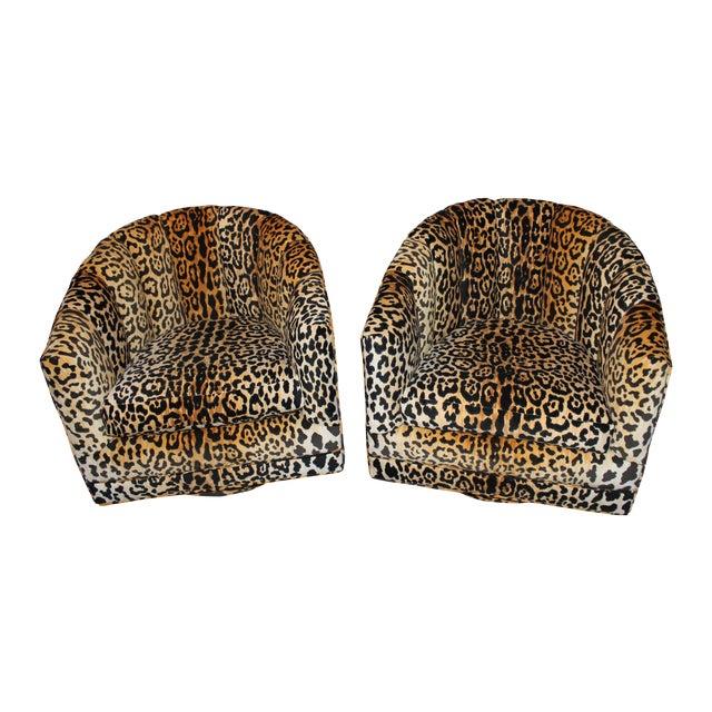 Image of Braemore Jamil Cheetah Vintage Swivel Chairs - 2