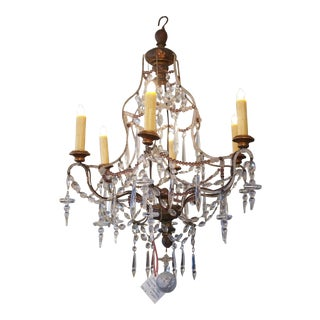 Italian Bead and Crystal Gilt Tole Chandelier
