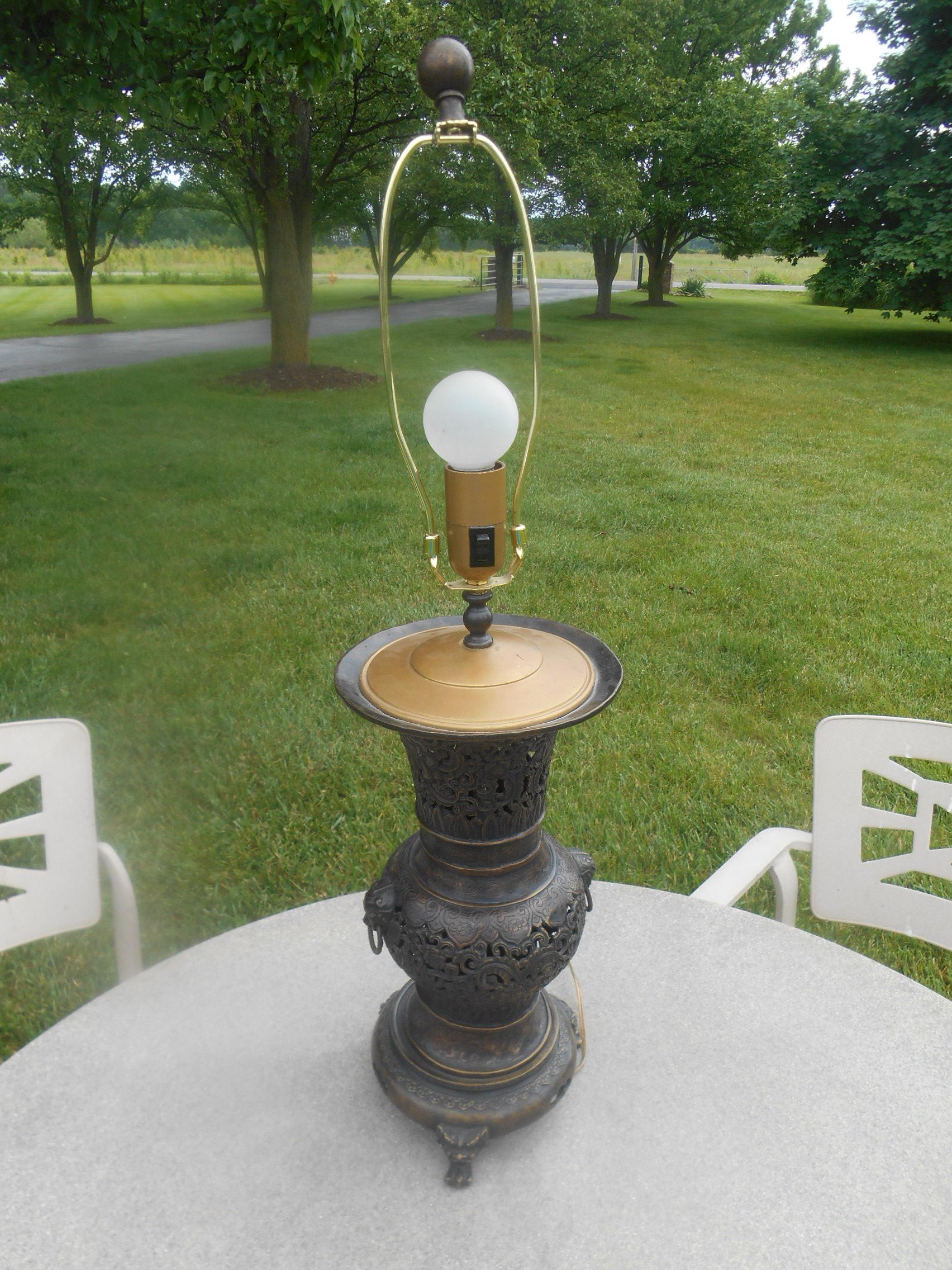 Pierced Brass U0026 Bronze Claw Foot Table Lamp   Image 3 ...