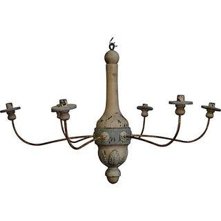 French Polychrome Wood And Iron Chandelier