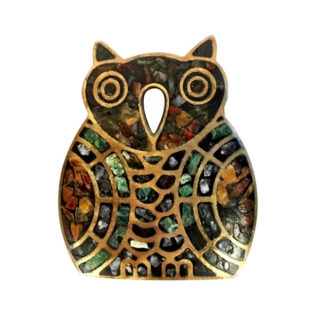 Image of Brass and Stone Inlaid Owl Belt Buckle