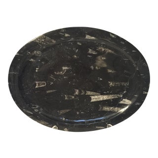 Black Oval Fossil Plate