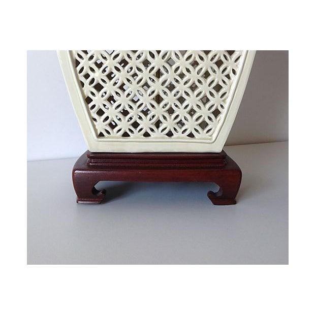 Image of Porcelain Chinoiserie Lamp on Wood Base