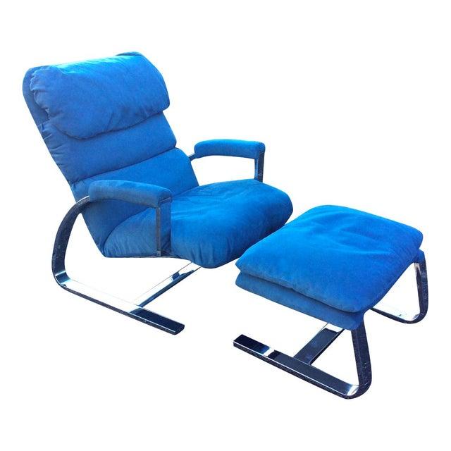 Milo Baughman Chrome Lounge Chair & Ottoman - Image 1 of 7