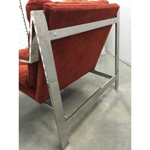 Milo Baughman Chrome and Velvet Lounge Chair - Image 5 of 7