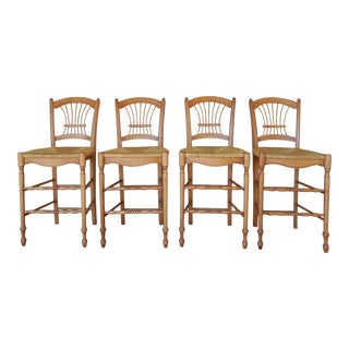 Maple Wheat Back Rush Bottom Height Stools - Set of 4