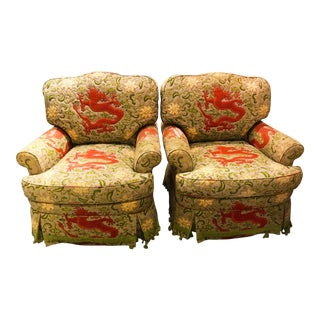 Charles Stewart Swivel Scalamandre Chien Dragon Upholstered Chairs - a Pair