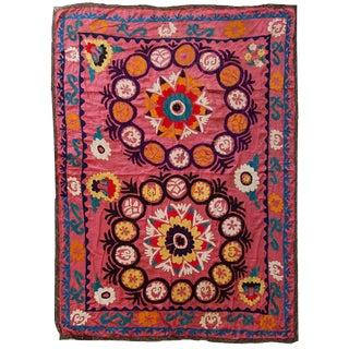 1960s Vintage Uzbek Suzani Embroidery Rug - 4′3″ × 5′8″