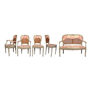 19th Century Louis XV French Caned Salon Collection - Set of 5