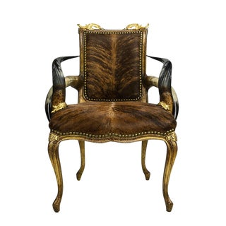 Victorian Longhorn Cowhide Gold Accent Chair