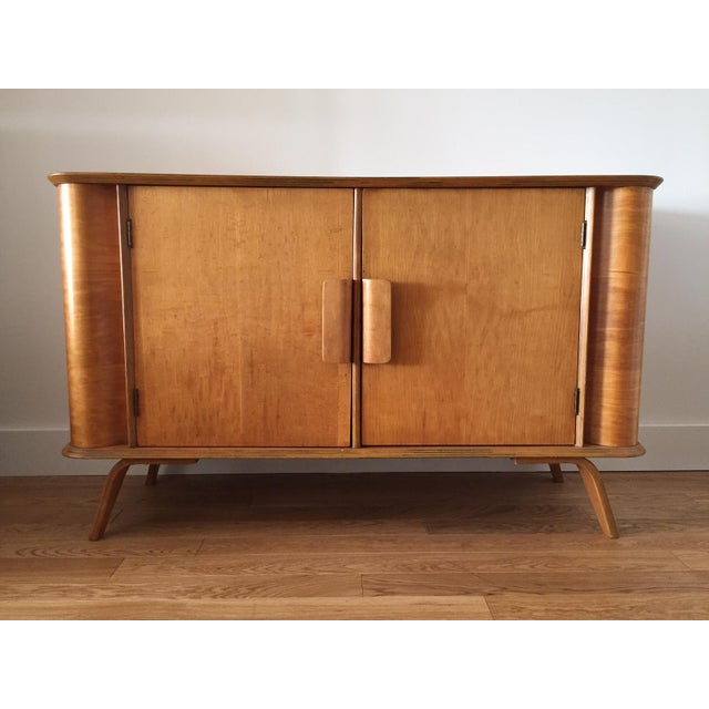 Mid century birch drawer sideboard on plywood legs