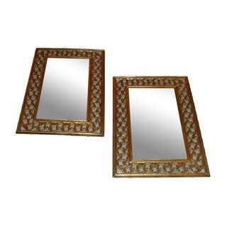 Brass Framed Mirrors - A Pair