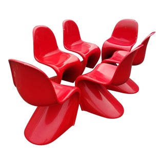Vintage Verner Panton Red Plastic Panton Chairs - Set of 6