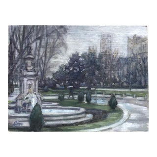 Paseo Del Prado Signed Oil Painting