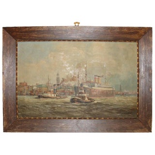 19th C. Oil Painting of Boats in a Harbor
