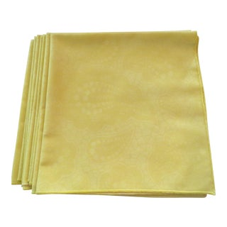 Lemon Yellow Paisley Dinner Napkins - Set of 8