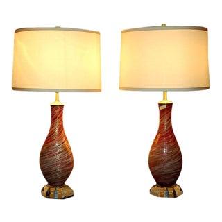 Raspberry Swirled Murano Lamps by Seguso