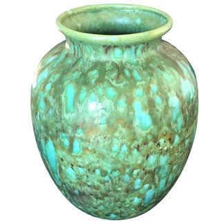Vintage 1970 Handmade Green Glaze Pottery Vase