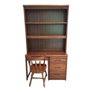 Wooden Bookcase Desk With Chair