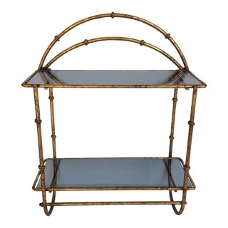 Hollywood Regency Gilt Bamboo-Style Wall Shelf