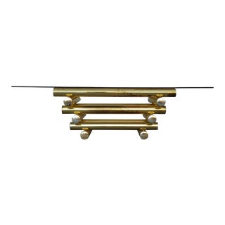 1970's Hollywood Regency Smoked Glass & Brass Coffee Table