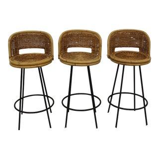 Mid Century Modern Arthur Umanoff style bar stools set of 3