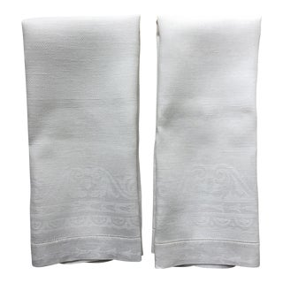 2 Antique Linen Damask Tea Towels